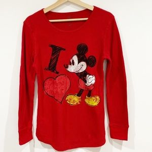 Disney Mikey Mouse Red waffle thermal top Sz L